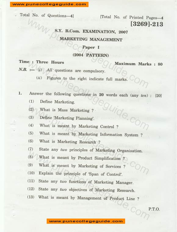 Marketing Management question paper