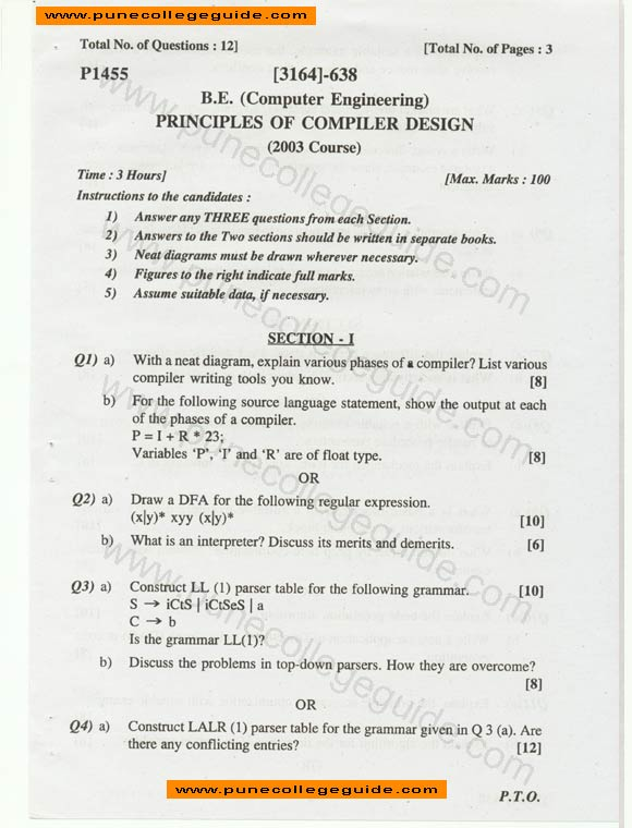 Principles of compiler design question paper