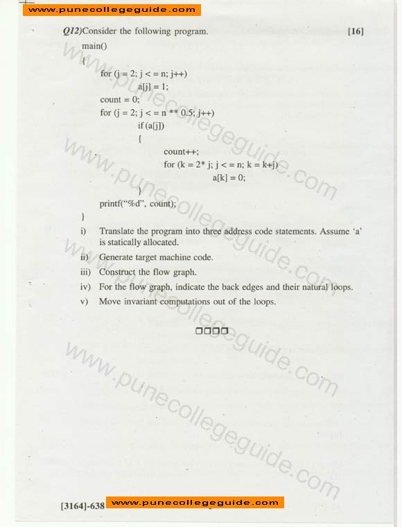 Exam paper Principles of compiler design