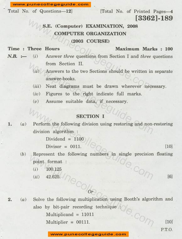 Computer Organization question paper