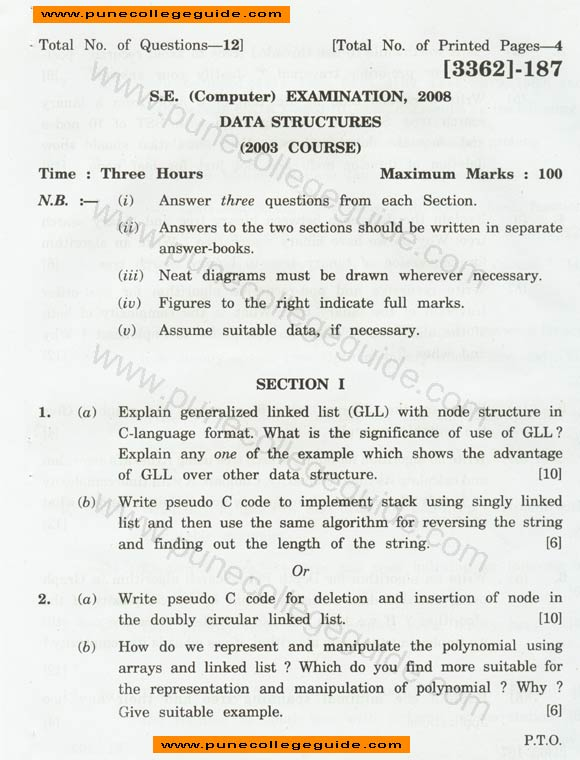 Data Structures question paper