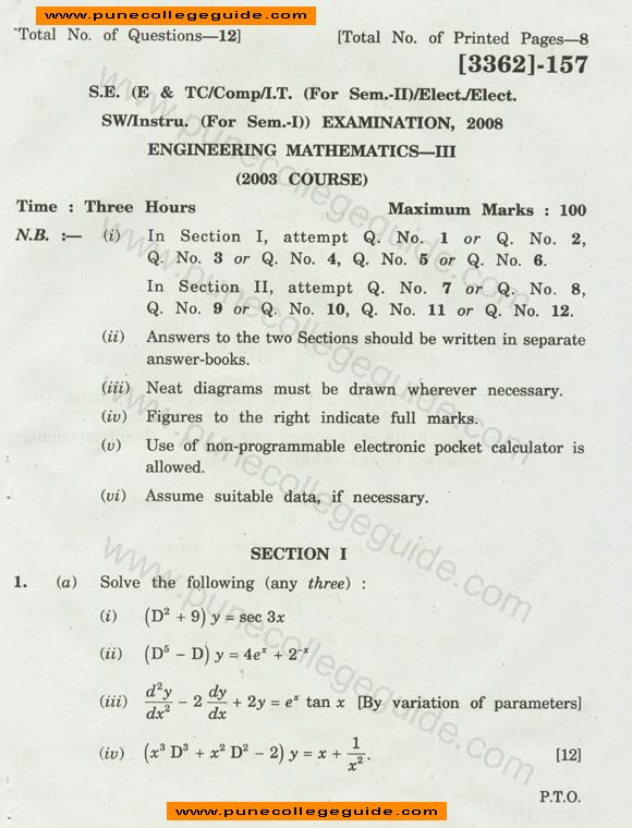 Engineering Mathematics III question paper