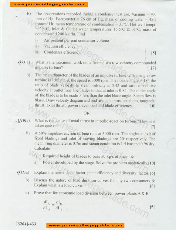 Power Plant Engineering exam paper