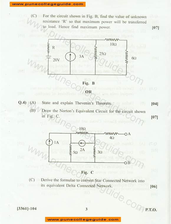 Basic Electrical Engineering exam paper