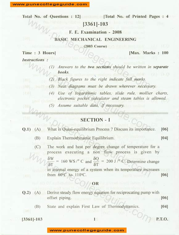 Mechanical Engineering basic subjects in college