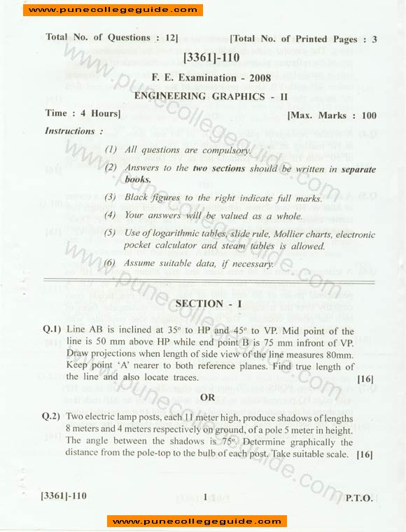 Engineering Graphics II question paper section 1