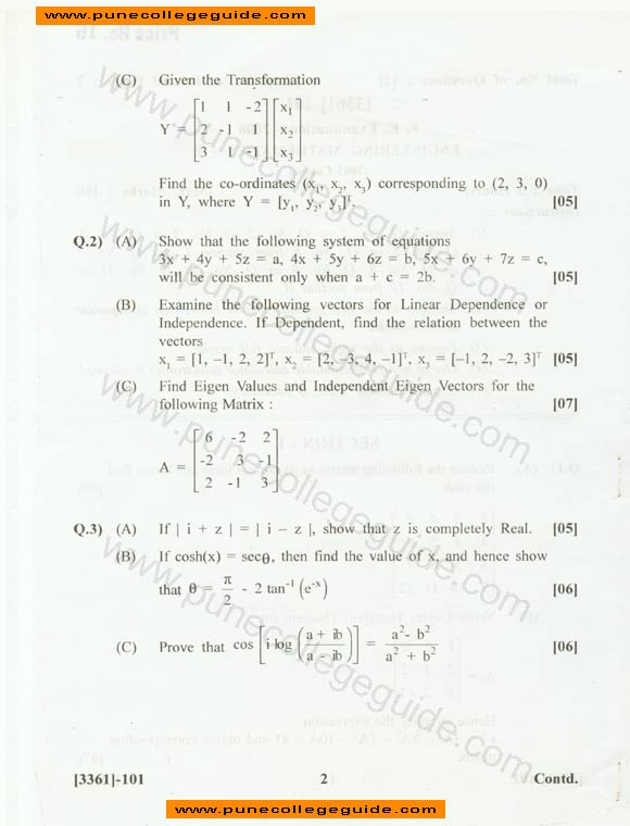 Mechanical Engineering math subjects in college