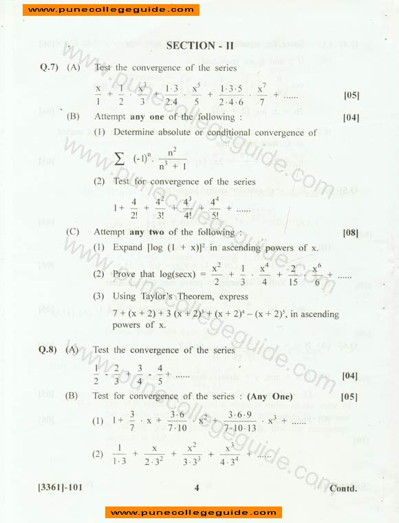 paper set FE mechanical Engineering Mathematics I