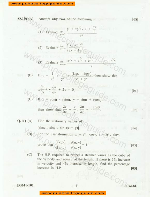 Engineering Mathematics I FE 2008 paper