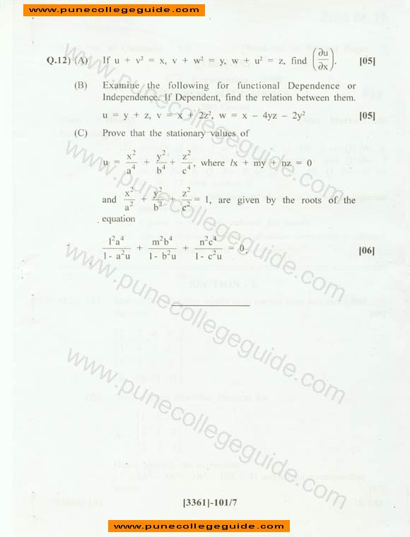 pune university question paper