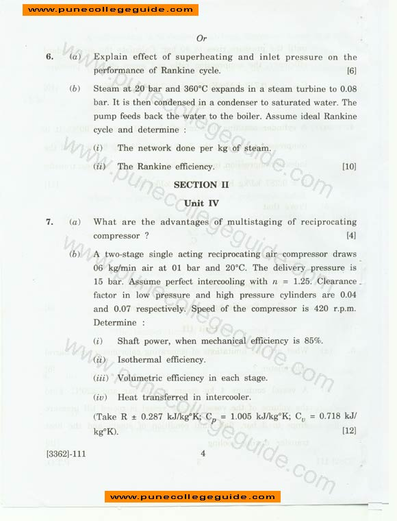 question paper Applied Thermodynamics