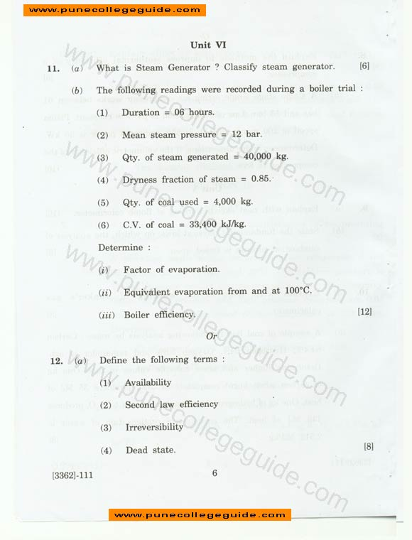 exam paper set Applied Thermodynamics, mechanical