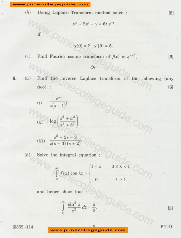 se Mechanical question paper Engineering Mathematics III