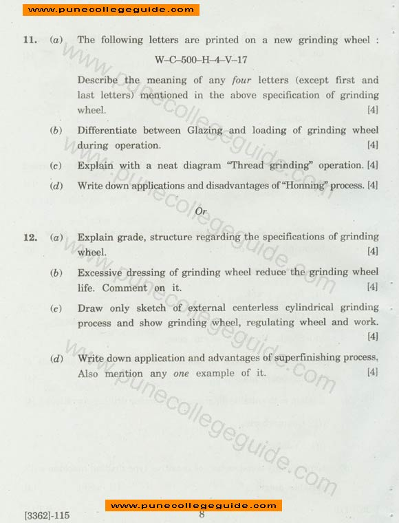 SE Mechanical Manufacturing Processes I question paper