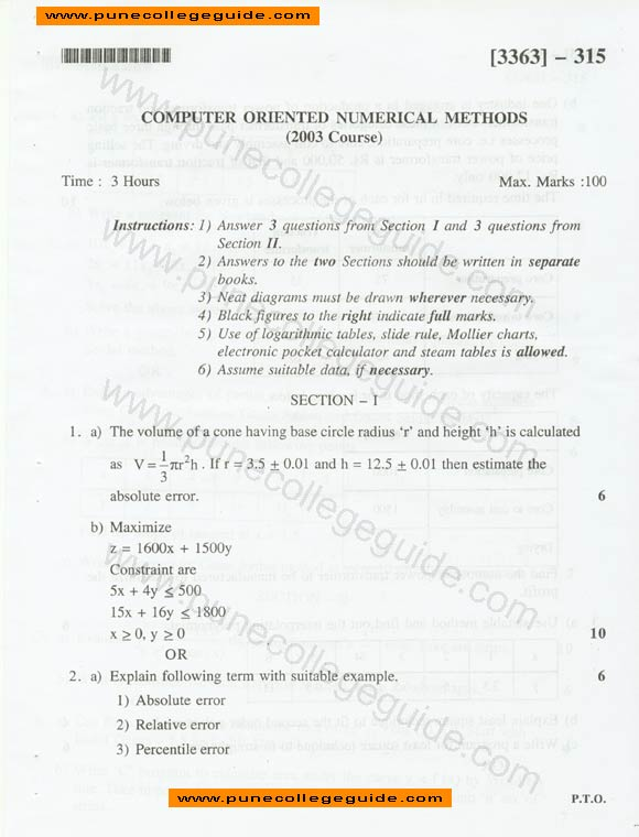 Computer Oriented Numerical Methods question paper