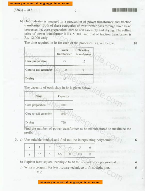 Computer Oriented Numerical Methods exam paper