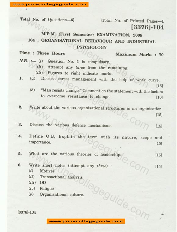 essay question exam for organizational behavior issues Course title: personnel and organizational psychology  methodology and  statistical logic as relevant to industrial/organizational behavior other topics  include worker motivation  exams, assignments, and discussions will serve as  tools for students to  short essay assignments short answer questions on  midterm and.
