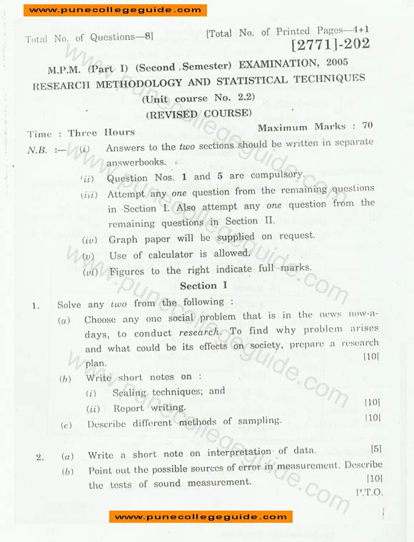 Question papers on research methodology